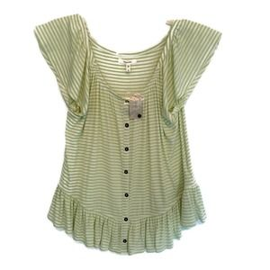 Maurices Green Striped Knit Ruffled Top - S NWT